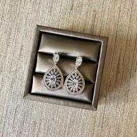 Cubic Zirconia Teardrop Floral Earrings