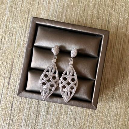 Cubic Zirconia Long Line Filgree Earrings